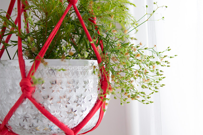 Diy suspension pour plantes en trapilho vert cerise - Suspension pot de fleur macrame ...