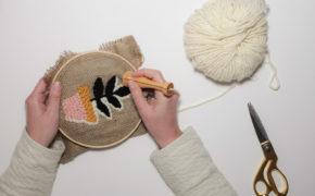 Broderie Punch Needle avec de la grosse laine