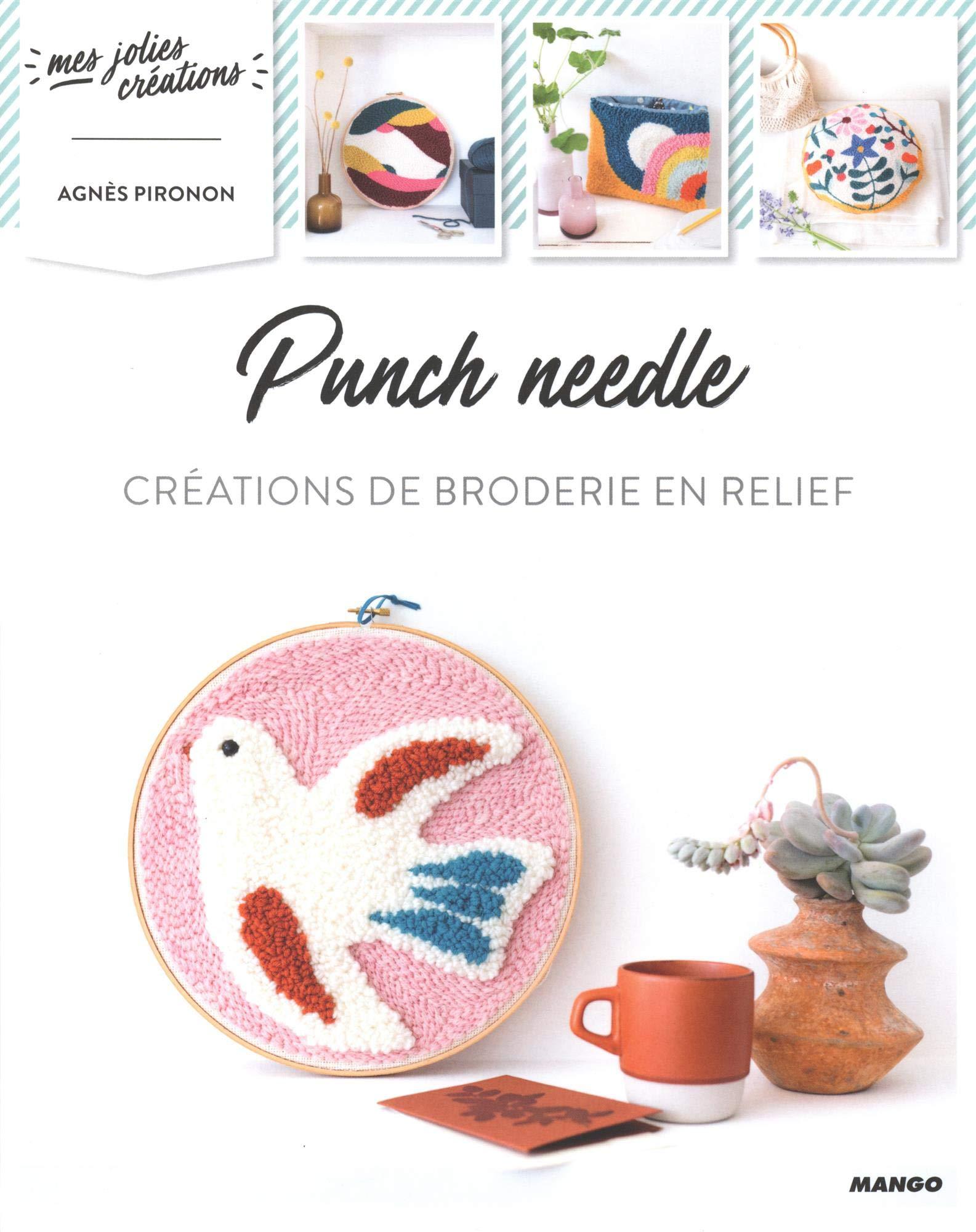 Livre punch needle chaumière oiseau